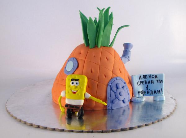 figurica sundjer boba i torta u obliku kucice od ananasa