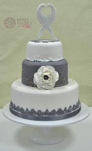 Gray&white wedding cake