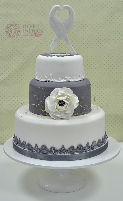 Gray&white wedding cake - sivo&belo svadbena torta