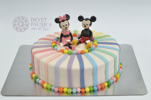 Miki i Mini - torta sa šarenim trakama