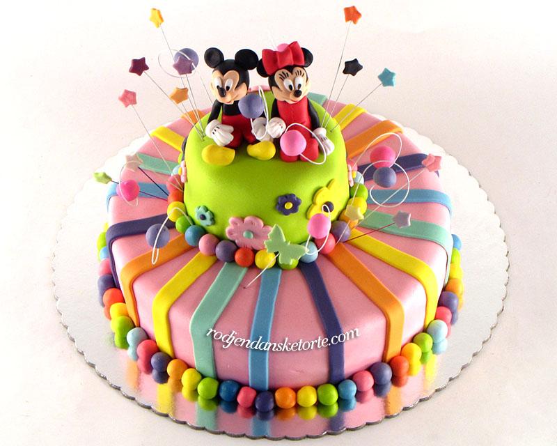Torta na sprat sa figuricama Miki i Mini Maus | Naru?ivanje torti