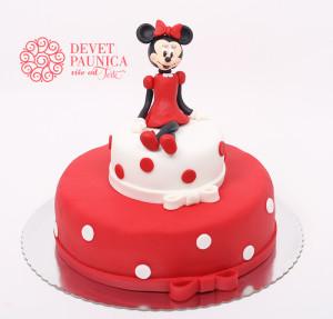 Mini Maus - crveno bela torta