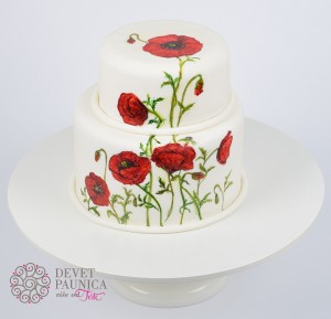 Painted poppy flower wedding cake