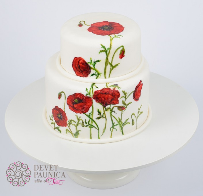poppy flower svadbena torta sa bulkama