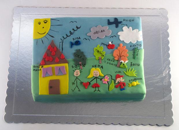 rodjendanska torta prema decijem crtezu