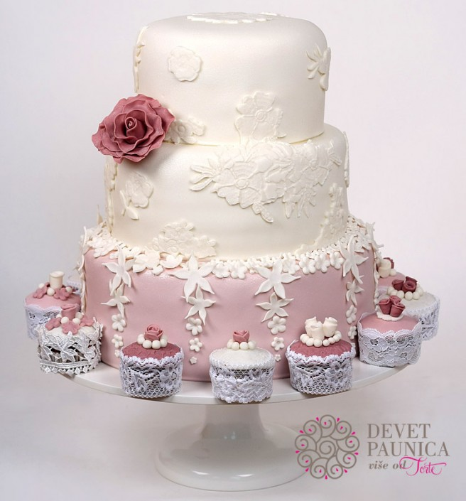 shabby chic svadbena torta