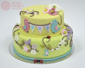 Svečana torta sa ptičicama i cvetićima
