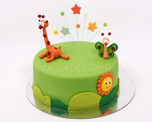 Baby Tv torta sa žirafom leptirom i suncem