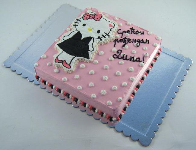 torta hello kitty u haljinici sa masnom