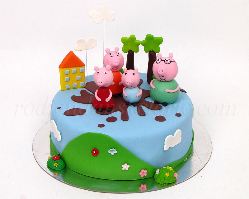 torta-pepa-prase-sa-porodicom-u-barici-ispred-kuce