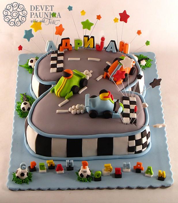 torta u obliku broja 2