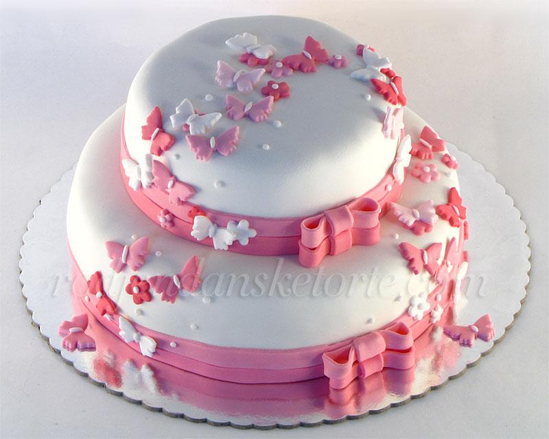 Torta za krstenje sa leptirićima