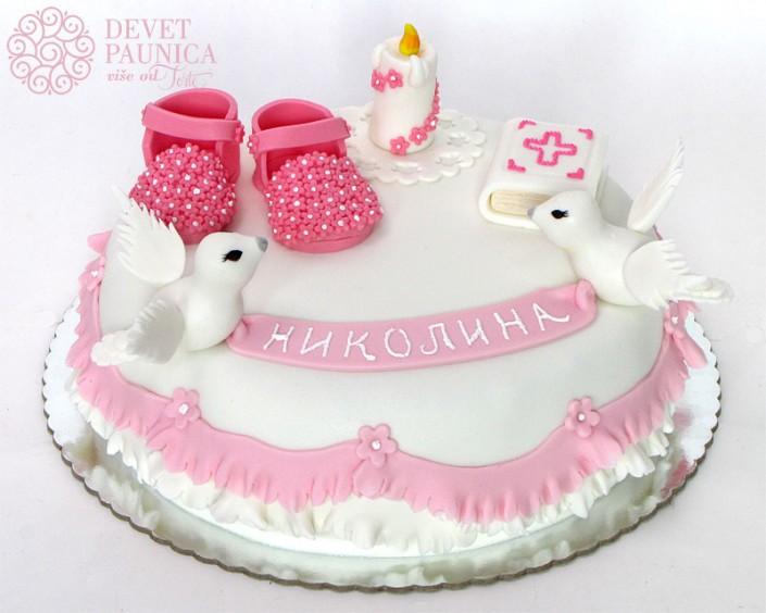 Torta za krstenje sa golubicama